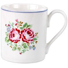Hrníček na čaj * bílý porcelán s ručně malovanými růžemi, folklorní moravský styl CZ.