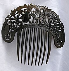 Authentic Antique Large Mantilla Hair Comb, Hand Carved  Tortoise Shell. Click on the image for more information.