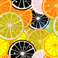 stock illustration of stylized lemon slices pattern seamless background