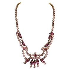 Signed CONTINENTAL Rosy Amethyst Colored Rhinestone Necklace