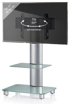 TV-Rack BILANO - silber - Mattglas - mit Zwischenboden - für 22-37 Zoll