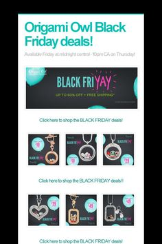 Help spread the word about Origami Owl Black Friday deals!. Please share! :)