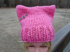 Chunky Pink Pussy Hat. Medium Pink Activist Hats. Pussy Hat.