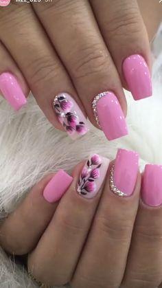 Flower Nail Designs, Best Nail Art Designs, Acrylic Nail Designs, Acrylic Art, Spring Nails, Summer Nails, Argyle Nails, Nail Design Spring, Nagellack Design