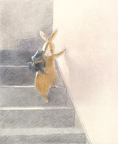 Illustration from the children's book Haru-chan and Rabbit-kun, Japan, by Chiaki Okada, published by Iwasaki Shoten. Art And Illustration, Portrait Illustration, Rabbit Art, Bunny Art, Art Graphique, Art Drawings, Character Design, Artwork, Bunnies