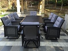 """9pc Palmetto Aluminum and Wicker Swivel Rocking Patio Dining Set – Black 8 Wicker Swivel Rocking Dining Chairs : 28"""" x 25"""" x 38""""1 Aluminum Slat Top Dining Table : 82"""" x 42""""Olifen UV Mold Resistant Outdoor Cushions ( Free )  http://outdoorgear.mobi/product/9pc-palmetto-aluminum-and-wicker-swivel-rocking-patio-dining-set-black/"""