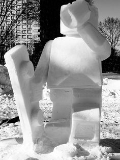 Snow Sculpture of Lego