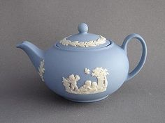 This miniature blue jasperware teapot is decorated with classical figures in white relief It dates from the late early and measures 1 Dining Room Paint Colors, Silver Tea Set, Tea Party Theme, Teapots And Cups, Wedgwood, Ceramic Art, Tea Pots, Blue And White, Coffee Time