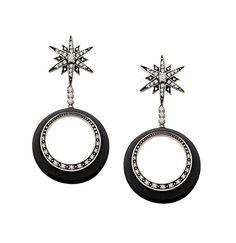 Sterling Silver Cubic Zirconia Orbital Star Drop Earrings