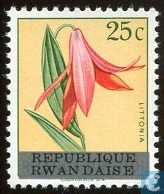 Postage Stamps - Rwanda - Flower Series