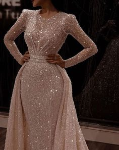 Long Sleeve Sparkly Dress, Prom Dresses With Sleeves, Wedding Dress Sleeves, Eid Dresses, Evening Dresses For Weddings, Wedding Dresses, Elegant Dresses, Classic Wedding Gowns, Luxury Wedding Dress