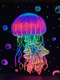 Your place to buy and sell all things handmade Jellyfish neon<br> Jellyfish Painting, Neon Painting, Light Painting, Scratch Art, Cool Paintings, Psychedelic Art, Light Art, Ceramic Art, Glass Art