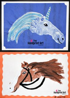 Handprint Animals: Footprint Horse & Unicorn Crafts