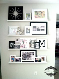 Styling shelves {our new home}, photo gallery wall using photo ledges