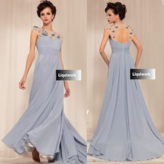 Designer Gray Grey Backless Formal Evening Ball Gown Occasion Dresses SKU-122667