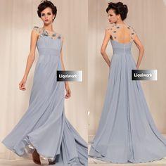 Designer Gray Grey Backless Formal Evening Ball Gown Occasion Dresses SKU-122667