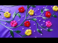 Hand Embroidery: Neckline Embroidery/Rosette Stitch - YouTube