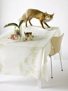 {deer tablecloth by Susanne Schjerning} Love the styling (fox!)