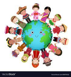 Multicultural Children Holding Hands Around World Stock Vector (Royalty Free) 650866639 Children Holding Hands, Kids Hands, Happy Children's Day, Happy Kids, Drawing For Kids, Art For Kids, School Frame, Pumpkin Vector, Cute Girl Face