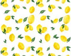 Watercolor Lemon Fabric  Watercolor Lemons By by Spoonflower