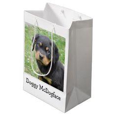 #Doggy McDogface Rottweiler Puppy Medium Gift Bag - #rottweiler #puppy #rottweilers #dog #dogs #pet #pets #cute
