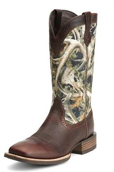 "Exclusive #Sale! Discount code ""QUICKSHIP"" saves 20% off sale price! Ariat Men's Quickdraw Brown Oiled Rowdy Brown And Camo Cowboy Boots"