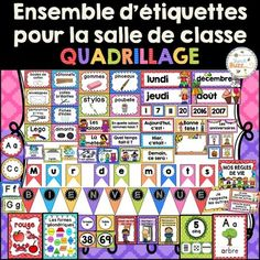 Complete French décor pack to decorate your classroom with a vibrant colorful theme.