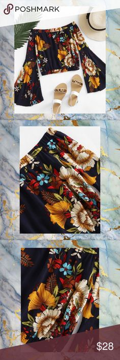 """NWOT FLORAL BARDOT FLUTED SLEEVE BLOUSE SZ S Ahhhh...to be young again. Memories of the fashion, in 60's and 70's, really pop up with this cute crop. It would be fab with elephant bell bottom jeans. Oh, oh...I think I just gave away my age. It's fine. We all know hippies had the best fashion.  Size: Small Bust: 38.6""""  Waist: 23.6"""" Length: 13.8"""" Sleeve Length: 20.9""""  Color: Multicolor Off the Shoulder Long Sleeve Material: 100% Polyester Decoration: Ruffle Fabric has no stretch Shirt Type…"""