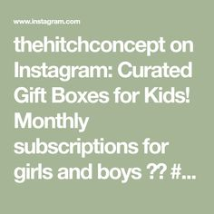 thehitchconcept on Instagram: Curated Gift Boxes for Kids! Monthly subscriptions for girls and boys 💗💙 #giftbox #giftideas #giftsforhim #gifts #box #handmade… Curated Gift Boxes, Kids Boxing, Gifts For Him, Boys, Girls, Audio, Just For You, Handmade, Instagram
