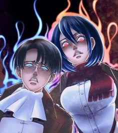 Attack on Titan ~~ I can't say for sure, but I think they heard someone dissing Eren. :: Levi and Mikasa