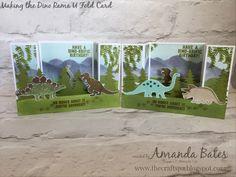 The Craft Spa - Stampin' Up! UK independent demonstrator - Order Stampin Up in UK: Dino-Rama U Fold Card Tutorial. Boy Cards, Pop Up Cards, Kids Cards, Box Cards Tutorial, Card Tutorials, Fancy Fold Cards, Folded Cards, Bridge Card, Dinosaur Cards
