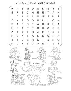 Word Search Puzzle Wild Animals 1 | Download Free Word Search Puzzle Wild Animals 1 for kids | Best Coloring Pages