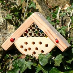 A unique, real, functioning wildlife habitat, specifically designed for children and to attract beneficial insects to the garden for learning, study Bug Hotel, Insect Hotel, House Bugs, Bee House, Hedgehog House, Beneficial Insects, Bugs And Insects, Bird Houses, Habitats