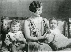 In the mid-1920s, the sixth Countess of Carnarvon is shown with her two children, Henry George Reginald Molyneaux Herbert, who would become the seventh Earl of Carnarvon, and Lady Anne Penelope Marian Herbert