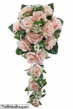 Pink Silk Rose Cascade - Bridal Wedding Bouquet - TheBridesBouquet.com