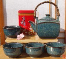 Jasmine tea & Contemporary Japanese tea set speckled blue glaze 4 cups