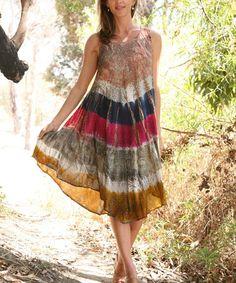Love this Beige & Fuchsia Tie-Dye Shift Dress by Ananda's Collection on #zulily! #zulilyfinds