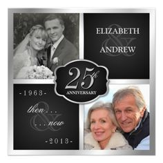 Elegant 25th Anniversary Party Vow Renewal Custom Invite