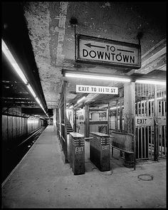 Old New York City Subway 110th St Lennox Ave Platform this is my stop...lol..i was lucky living on madsion ave...either east or west