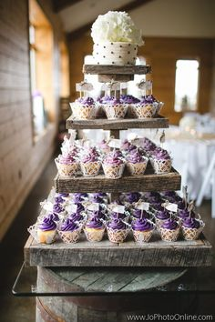 Rustic Cupcake Stand - Cupcakes - Cake Alternatives - Wedding Ideas - Farm Wedding - Knoxville TN - Flowers for cupcakes - Wood slice - Barn Wood - Purple - Ivory - Burlap and Lace - http://www.lisafosterdesign.com