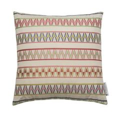 This cushion features Palopo one of our favourite designs, a multicolour zig zag inspired by original Guatemalan weaving motifs. Colourful Cushions, Design Your Home, Make Design, Jacquard Loom, Luxury Throws, Throw Cushions, Soft Furnishings, Color Pop