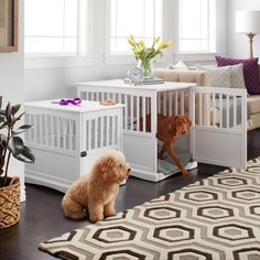 Incorporate accommodations for your dog into the decor of your living room, bedroom, or den with this dog-crate end table. The white wood surface is ideal for holding a lamp and framed photo, while th