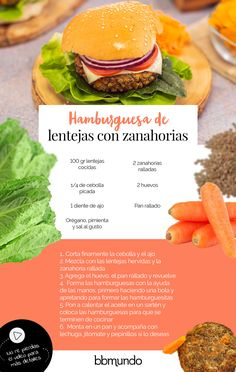 Vegetarian Burger Recipe - Carrot Lentil Burger - If your child is not a fan of vegetables, with this easy recipe for vegetarian carrot burger with l - Vegan Recipes Easy, Veggie Recipes, Cooking Recipes, Vegetarian Cooking, Vegetarian Recipes, Food Porn, Deli Food, Veggie Dishes, Going Vegan