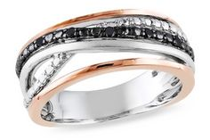 Black Diamond Sterling Silver Ring w/Pink & Black Rhodium @ ice.com