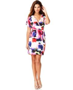 Maggy London Dress, Short Sleeve Printed Belted Wrap - Womens Dresses - Macy's