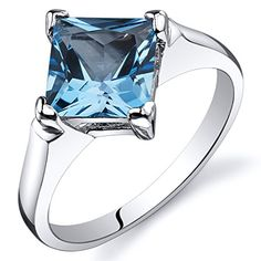 Swiss Blue Topaz Engagement Ring Sterling Silver Rhodium Nickel Finish 200 Carats Size 8 *** Want to know more, click on the image.
