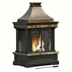 Bring warmth and ambiance to nearly any outdoor living area with thisWood Burning Outdoor Fireplace Chimney Patio Cabin Firepit. This Wood Burning Outdoor Fireplace Chimney Patio Cabin Firepit has natural slate accents above and below the firebox. Round Fire Pit Table, Propane Fire Pit Table, Wood Fire Pit, Wood Burning Fire Pit, Fire Pits, Diy Outdoor Fireplace, Outside Fireplace, Fireplace Ideas, Natural Gas Fire Pit