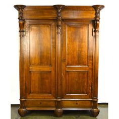 Antique French Country Charles X Carved Oak Armoire Wardrobe, Ca. 1830