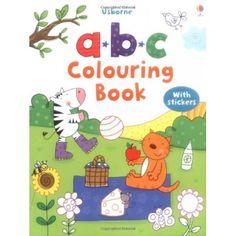 Libro para colorear con actividades y pegatinas para ayudar a los niños pequeños a aprender el alfabeto. Grandes páginas de letras con temas claros que ofrecen oportunidades para colorear, garabatear y poner pegatinas en las letras correspondientes.