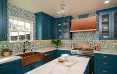 Curtis Park Project Reveal – House of Brazier Teal Cabinets, Blue Kitchen Cabinets, Teal Kitchen, Kitchen Colors, Recycled Glass Countertops, Spanish Kitchen, Arched Doors, Functional Kitchen, Cool Kitchens